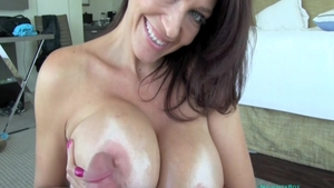 Busty mature Charlee Chase feels up to cumshot