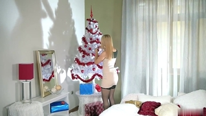Blonde Alana Moon in stockings doggy fucking on Christmas