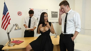 Crystal Rush wearing dress pussy drilling in office