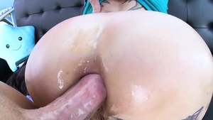 Hard ramming big butt redhead in sexy lingerie
