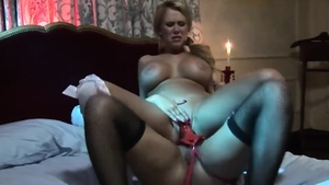 Lesbian Eva Angelina voyeur sex with toys in the bed