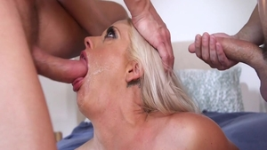 Busty housewife Holly Heart gangbang