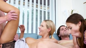 Orgy in company with big tits blonde