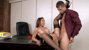 Shaved couple caucasian Julie Skyhigh dick sucking in office