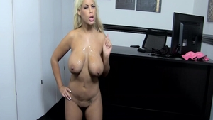 Busty mature latina Bridgette B posing in office