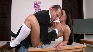 Raw sex scene along with big tits brunette Athina Love