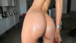 Oiled hard ramming in the company of hairy amateur