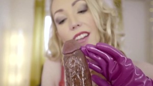 Busty blonde Candy May fetish handjob