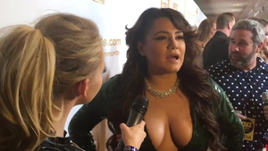 During interview big tits latina wearing high heels