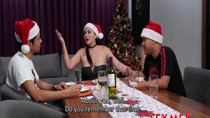 Stepmom Pamela Rios in glasses threesome on the Christmas