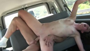 Young amateur cumshot in van