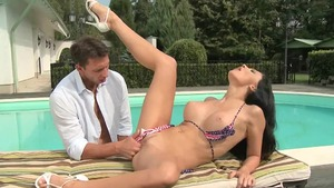 Big tits and busty Aletta Ocean sucking cock in the pool