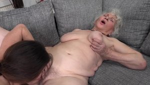 Hairy and young granny Tiffany Doll pussy licking