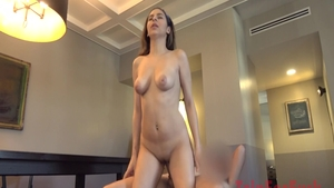 Plowing hard together with young babe Nina North