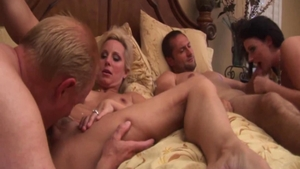 Busty swinger Sophie Dee homemade foursome