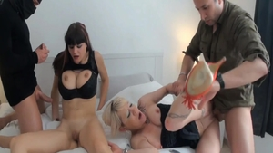 Big tits sexy french MILF group sex