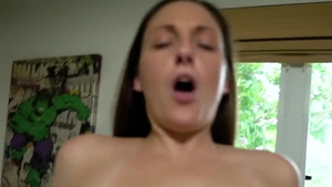 Big tits brunette Melanie Hicks helps with rough nailing HD