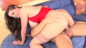 Busty & hairy June Summers in lingerie cumshot