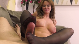 Tight and super hot Emily Addison in lingerie footjob