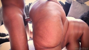 Beautiful and big ass BBW oiled doggy fucking