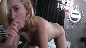 Very sexy young blonde Haley Reed rough cock sucking