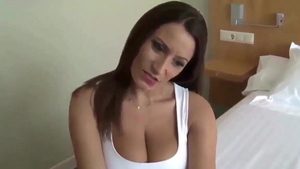 Sucking cock along with busty german stepmom
