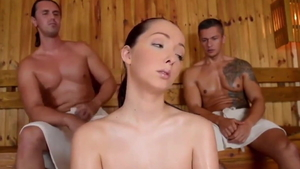 Threesome in the company of european brunette Lucie Wilde