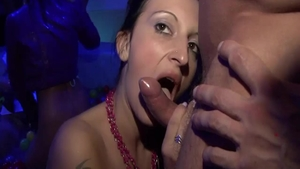 Stiff and stunning Lena Cova in fishnets getting a facial