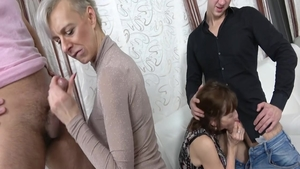 Short haired and young mature group sex