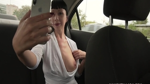 Masturbating in a taxi among very sexy babe Naughty Lada