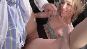 Cumshot escorted by petite doctor