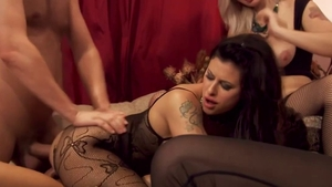 Blonde Billie Star has a thing for gangbang in thong