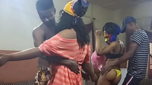Sucking dick at the party petite african