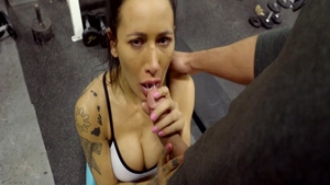 Sucks dick and fucks at the gym alongside perfect brunette