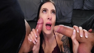 Pussy eating scene amongst dirty rough Marley Brinx