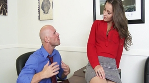 Small tits Dani Daniels raw cumshot in office