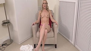Solo blonde charming pussy eating after interview