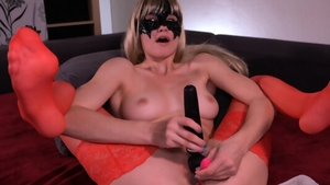 Blonde reverse cowgirl on web-cam