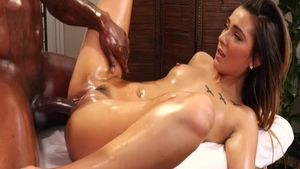 Jaye Summers in hardcore oiled interracial fuck