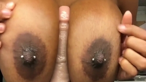 Ebony playing with sex toys on webcam