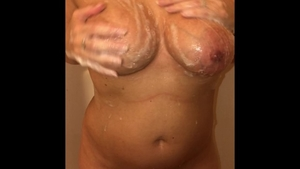 Busty sexy amateur POV masturbating in the shower HD