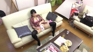 Japanese brunette playing with toys JAV