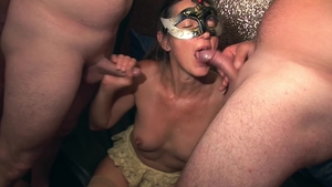 Group sex escorted by huge boobs blonde babe