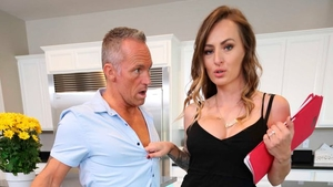Curly hair Natasha Starr fucked missionary in the kitchen