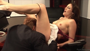 Very hot brunette Pussy fucked in office