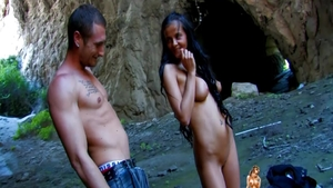 Latina babe Candy Alexa hard blowjob outdoors