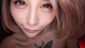 Tattooed japanese blonde hair fun with toys HD
