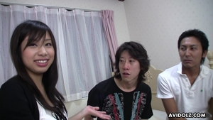 Hairy asian threesome at casting