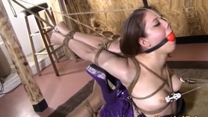 Brunette fetish hogtied
