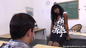 Very hot large boobs ebony teacher interracial fuck